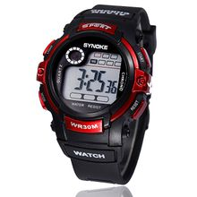 72f6630b6 Fohting Boy Digital LED Quartz Alarm Date Sports Waterproof Wrist Watch Red  -Red