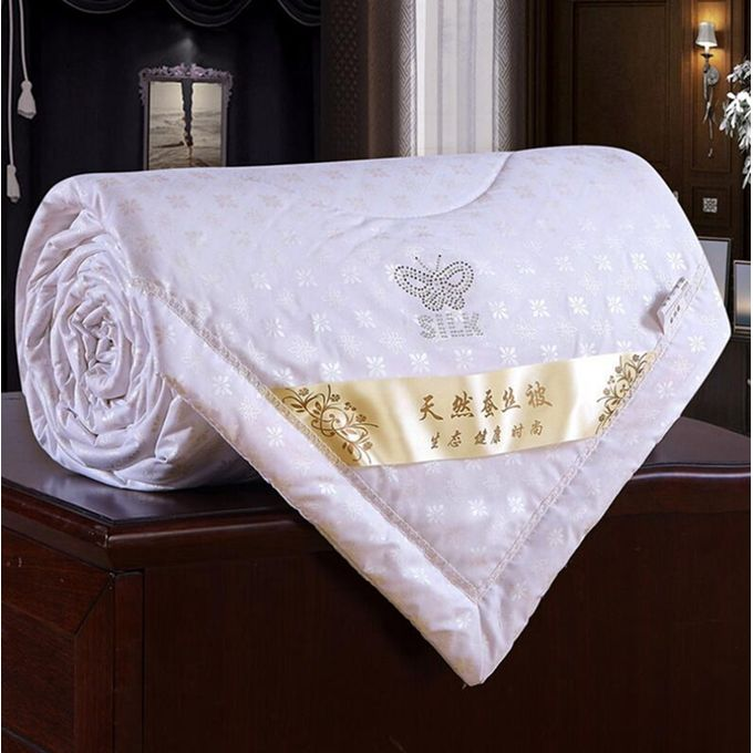 100% Mulberry Silk Filled Comforter Quilt Duvet Coverlet Blanket Doona Yellow For Summer    Color:white Size:180*220cm –  مصر