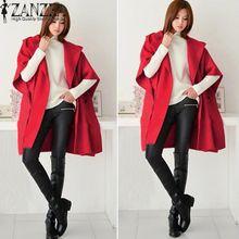 8ede67b7c ZANZEA Winter Fall Women Woolen Coats Female Batwing Sleeve Casual Loose  Hooded Outerwear Long Cloak Cardigan