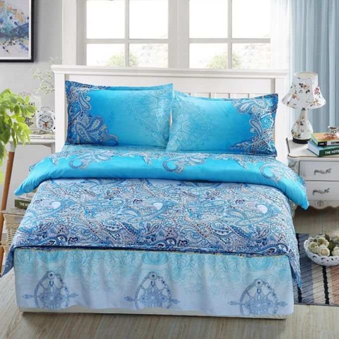 Blue Print Style Queen Size Bedding Quilt/Doona/Duvet Cover Set + 2 Pillow Case –  مصر