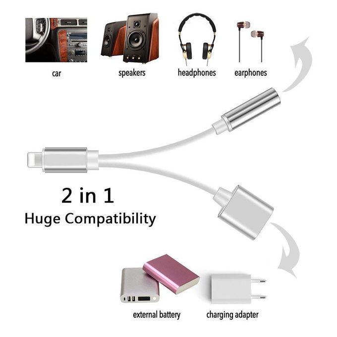 2 In 1 Lighting Mobile Phone Charging Audio Split Converter Adapter