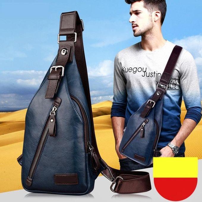 Men PU Leather Retro Portable Leisure Shoulder Bag Chest Bag Crossbody Bag 33c93e34314df