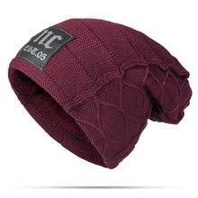 764d0873f4f Fashion Mens Winter Plus Velvet Warm Knitted Hat Casual NC Letter Solid  Skullies Beanie Hat