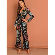 5d4c4570e1f Waist Knot Chain Print V-Neck Jumpsuit