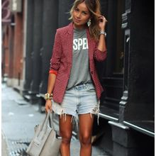 864ff8463 جديد أزياء السيدات أزياء المرأة عارضة منقوشة أحمر بأكمام طويلة سترة بدلة  الصغيرة سترة-أحمر