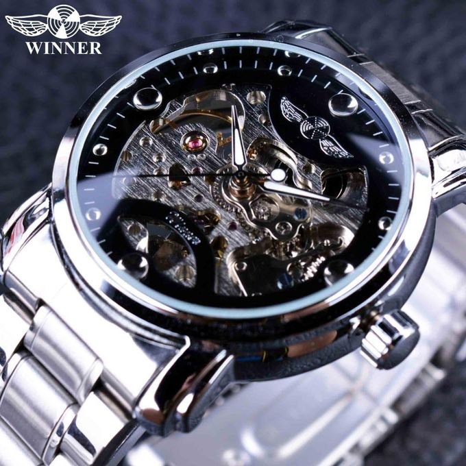 631c8d9346 Winner Winner Blue Ocean Fashion Casual Designer Stainless Steel Men  Skeleton Watch Mens Watches Top Brand Luxury Automatic Watch Clock. By  Winner