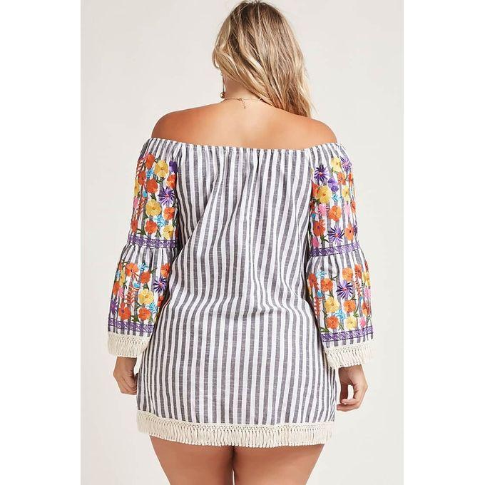 Plus Size Embroidered Bib Neck Skater Dress