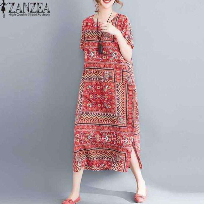 cc26acbc78 ZANZEA Women Short Sleeve T-Shirt Dress Summer Floral Print Long Shirt Dress  New -