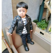 992280f32c17 Quanxinhshang Autumn Winter Girl Boy Kids Baby Outwear Leather Coat Short  Jacket Clothes