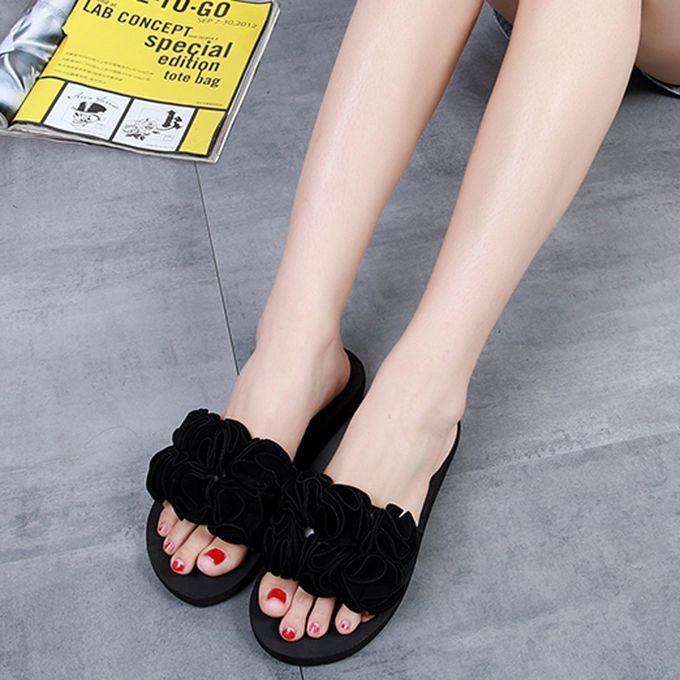 3ee9e1a8b57a Women Flower Summer Sandals Slipper Indoor Outdoor Flip-flops Beach Shoes  Black