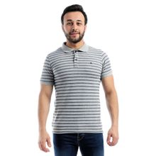 482f60a81 Striped Short Sleeves Buttoned Polo Shirt - Grey  amp  Navy Blue
