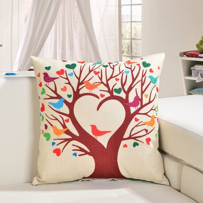 Cartoon Heart Tree Pattern Linen Cotton Cushion Bed Backrest Support Throw Pillow with Pillow Insert,  Size: 45cm x 45cm –  مصر