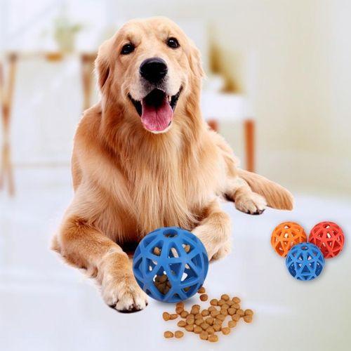Pet Puppy Dog Snack Bounces Ball Feeding Treat Chew Toy For Training(Blue)