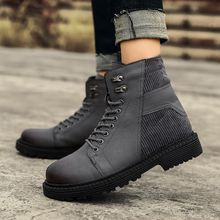 e08b277ec Men's Warm Ankle Martin Boots Leather Spicling Outdoor High Top Casual  Shoes