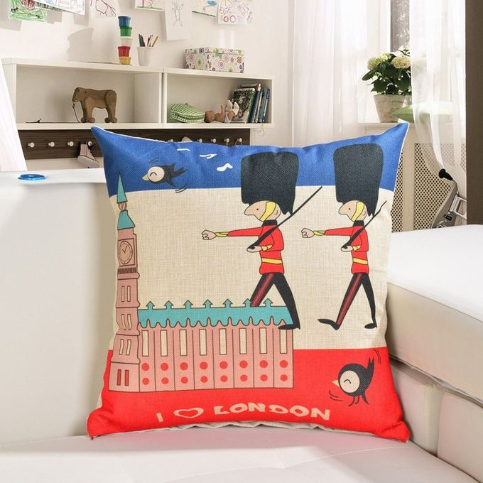 Cartoon British Soldiers Pattern Linen Cotton Cushion Bed Backrest Support Throw Pillow with Pillow Insert,  Size: 45cm x 45cm –  مصر