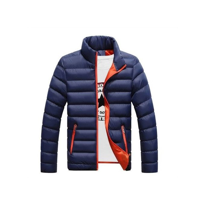 4c6dd1f8b Dark Blue New Fashion Men's Winter Warm Jacket Slim Casual Solid Coat Cotton -padded Jacket