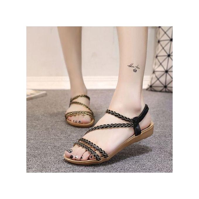 96429436b Large Size Women s Shoes Summer Flat Sandals Braided Sandals Women Black ...