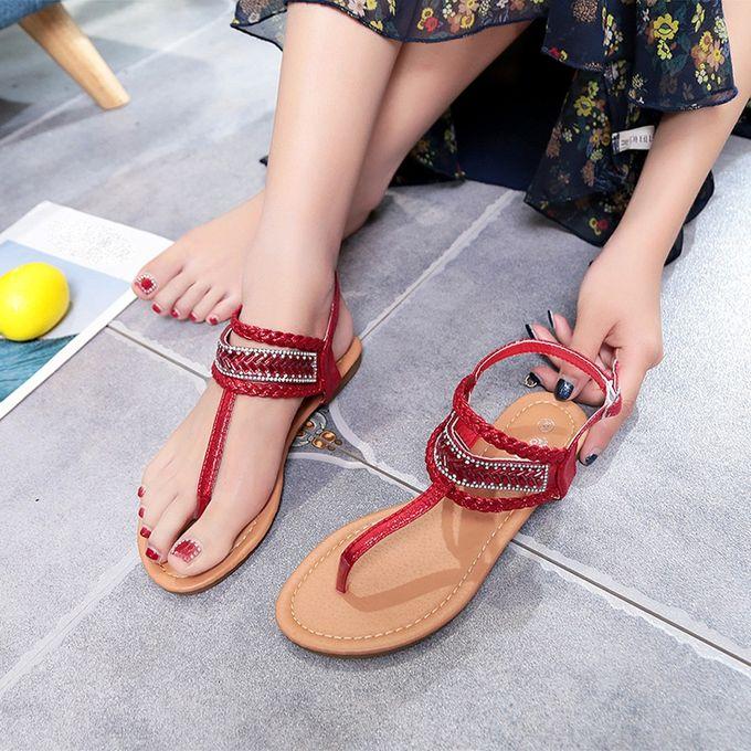 7c44d1fd5 ... Summer Pinch Casual Bohemian Diamond Sandal Women Gladiator Sandals  Roman Flats -Red ...
