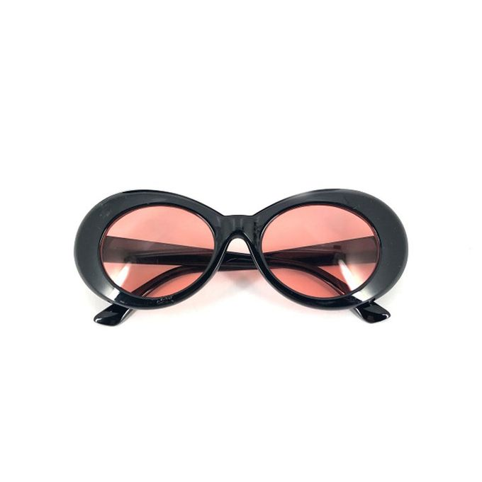 32c91f5248ea5 Bold Retro Oval Mod Thick Frame Sunglasses Clout Goggles With Round Lens  51mm Black-Red