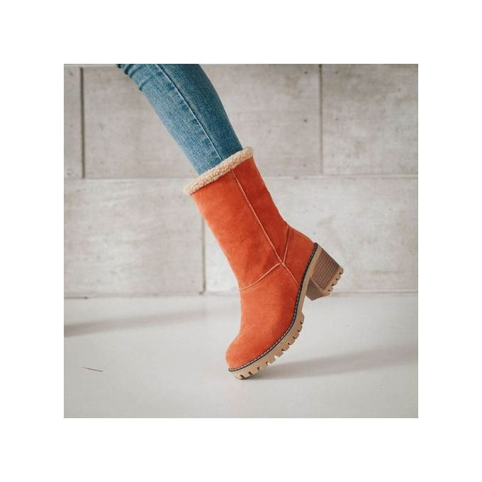 480a944d9a96 ... Jiahsyc Store Women s Ladies Winter Shoes Flock Warm Boots Martin Snow  Boots Short Bootie-Orange ...