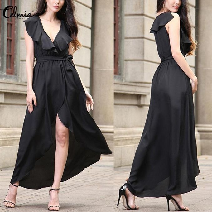 eddaee27610 Celmia Womens Fashion Deep V Neck Sleeveless Belted Irregular Hem Chiffon  Long Maxi Dress Black
