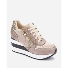 Lace Up Glittery Sneakers - Gold