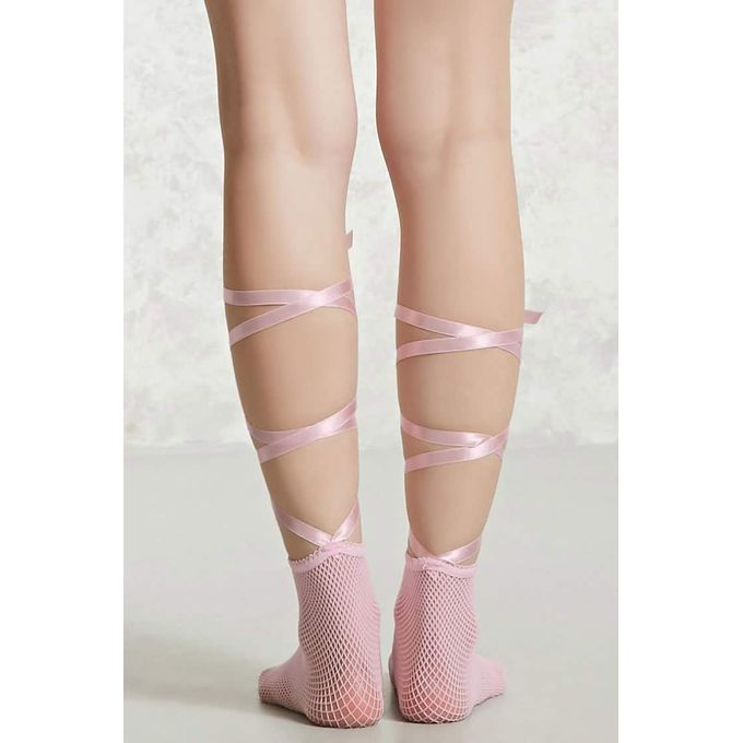 Wrap Tie Fishnet Ankle Socks