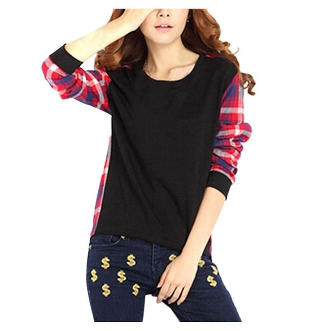 29b6026989cf ZANZEA Women Casual Long Sleeve Round Neck Check Plaid Casual Loose Tops  Shirt Blouse Black