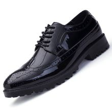 e4a1216d3 Classic Men Dress Shoes Genuine Leather Carved Italian Large Size Formal  Shoes Oxford Black