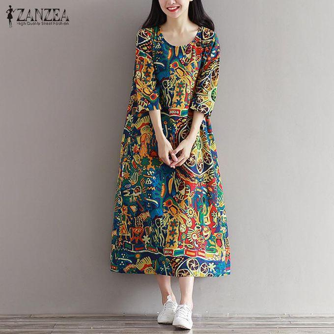 7fcae5abeb99f ZANZEA Boho Floral Print Women 3/4 Sleeve O Neck Pockets Summer Loose Casual  Party