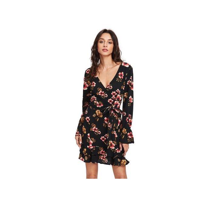f8129e665 Women Elegant Floral Print Dress - Black - Jumia مصر