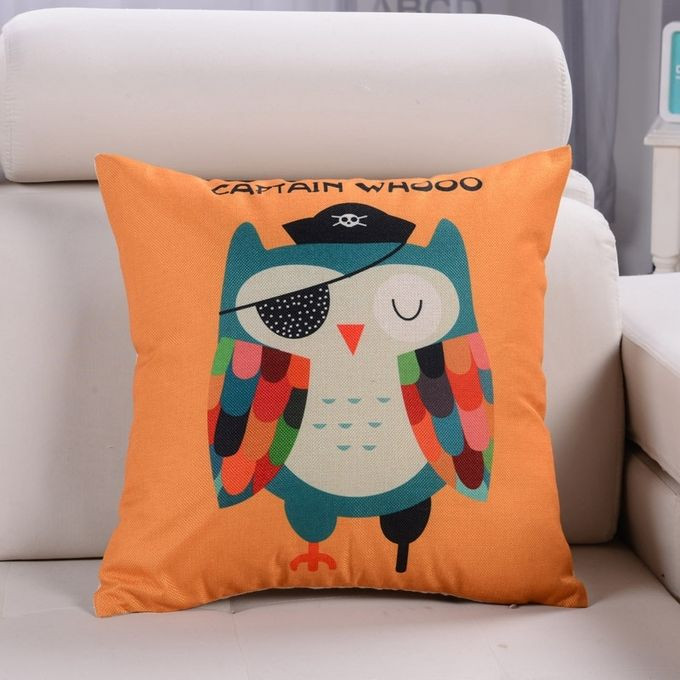 Cartoon Owl Pattern Linen Cotton Cushion Bed Backrest Support Throw Pillow with Pillow Insert,  Size: 45cm x 45cm –  مصر