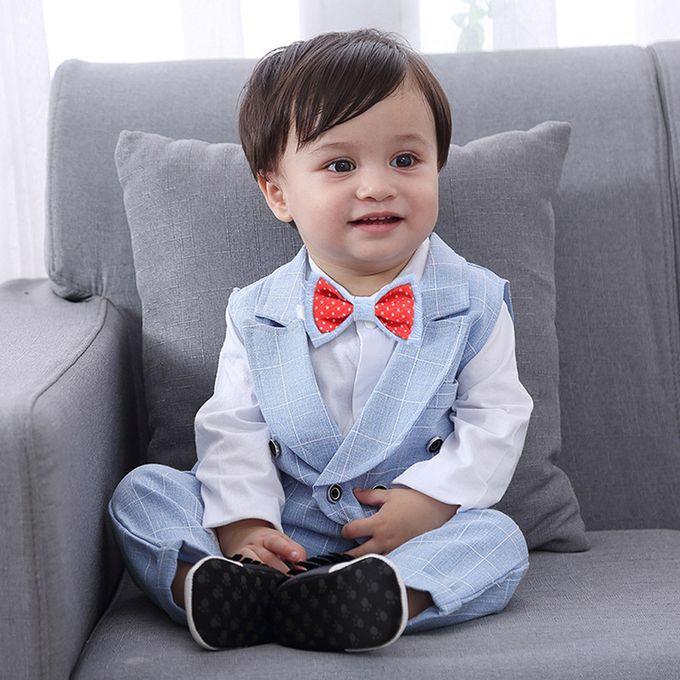 Hiamok Toddler Baby Boy Bowtie Gentleman Vest T Shirt Pants Wedding Suit Cloth Sets