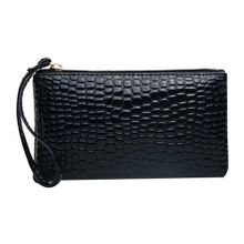 Crocodile Pattern Women Wallet Purse Card Phone Holder Makeup Bag Handbag Black