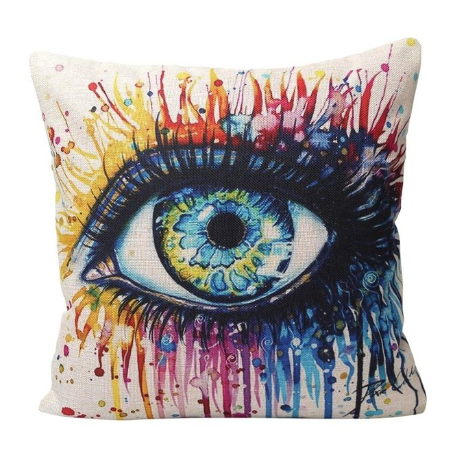 Fashion Colorful Eye Print Pillow Case Soft Cushion Linen Cover Car Home Decor –  مصر