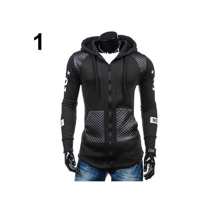 87597e2386d6 Men Faux Leather Patchwork Print Long Sleeve Hoodie Outwear Coat Sweatshirt -Black