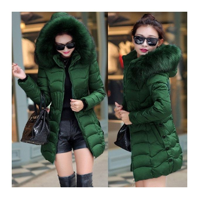 0c96bf34d36 New Long Parkas Women Winter Coat Thicken Female Down Cotton Jacket Faux Fur  Collar Womens Puffer