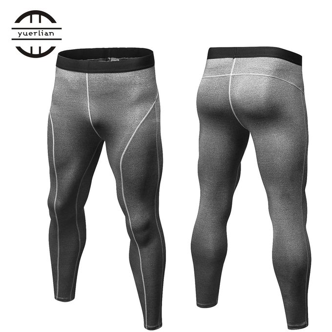 932be11f3668b ... Men Compression Pants Tights Solid Color Quick Drying Running Skinny  Leggings Gray ...