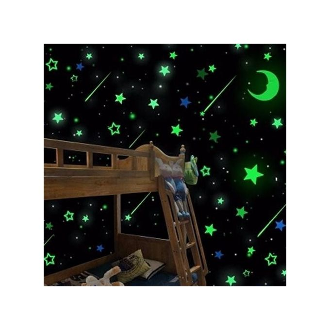 Bluelans 20pcs luminous glow in the dark stars moon decals for Home decorations on jumia
