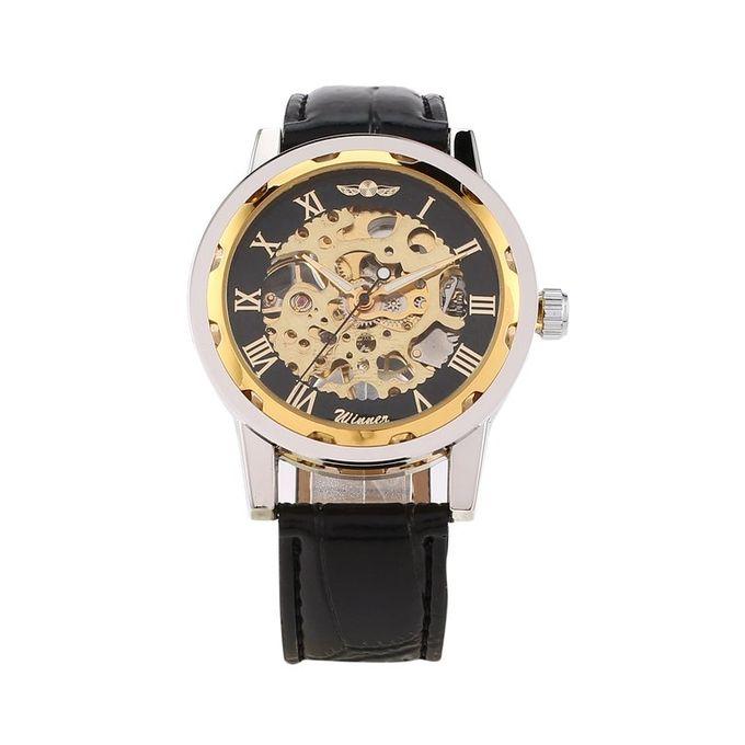 TA-Winner Men Automatic Mechanical Watch Leather Band Business Wrist Watch* Black