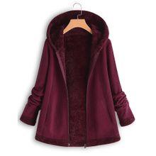 5597511f8eafa Jiahsyc Store Women  039 s Fashion Winter Pocket Zipper Long Sleeve Plush  Hoodie Coat