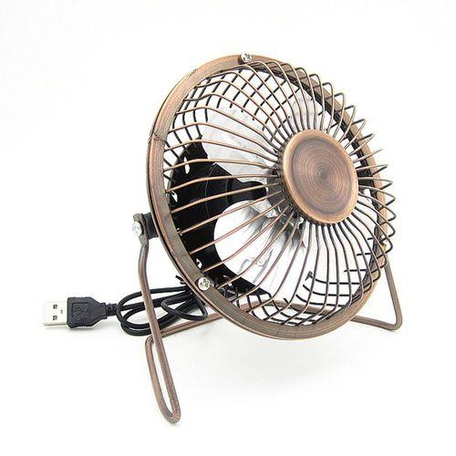 Home-4-Inch USB Cooling Fan Small 4 Blades Desk USB Cooler Super Mute Car USB Fan*Bronze