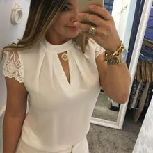 904707a77258e Tectores 2018 Fashion Trend Women Casual Chiffon Short Sleeve Splice Lace  Crop Top Blouse