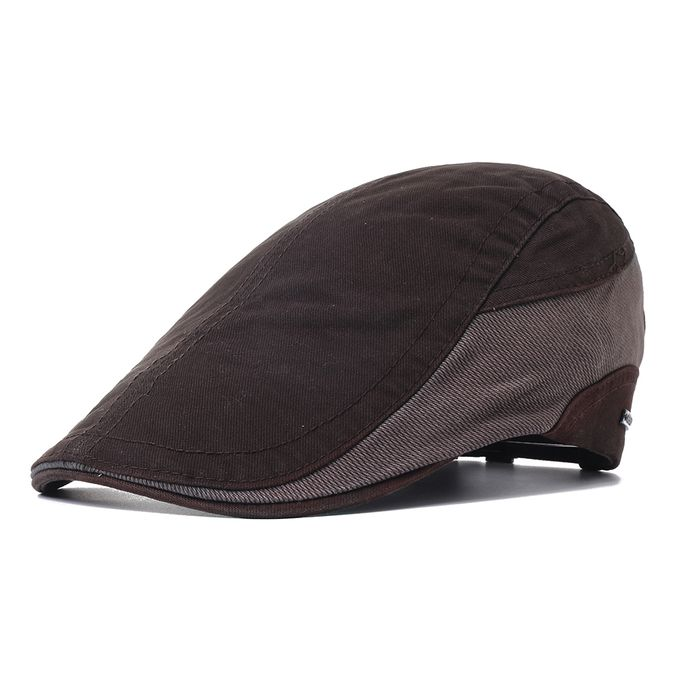 adae073aee Mens Outdoor Summer Patchwork Breathable Beret Hat Solid Newsboy Cabbie  Flat Caps Visor