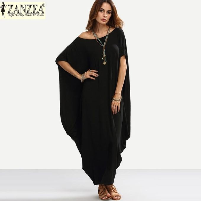 9199e7c7b86b ZANZEA Plain Women Maxi Dress Summer Autumn Short Sleeve Off Shoulder Long  Shift Dress Baggy Robe