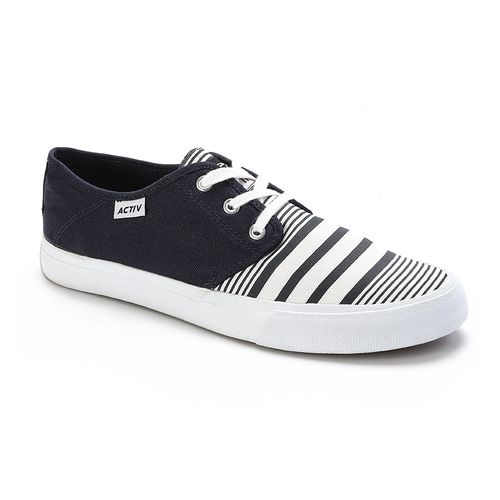 Striped Lace Up Shoes - Navy
