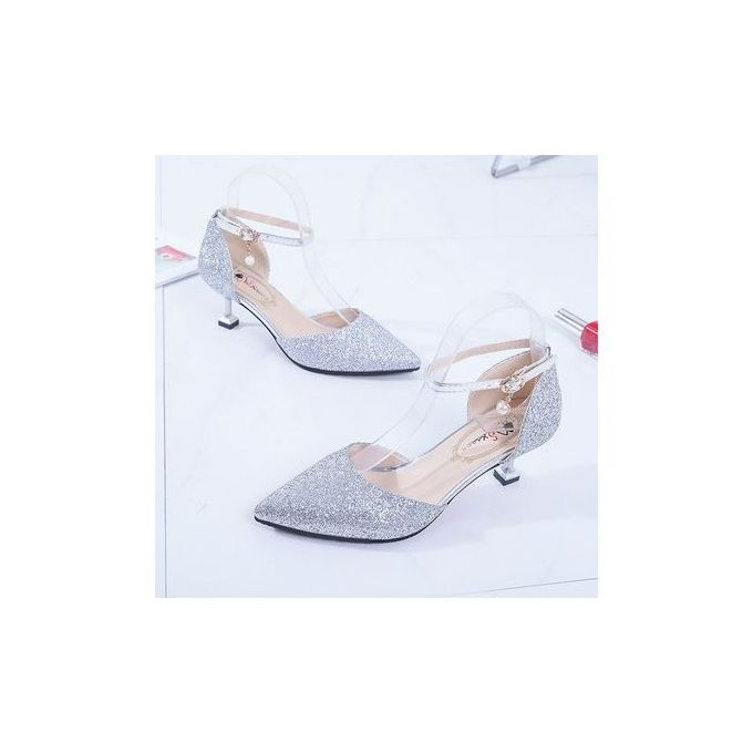 0f66d0e0b4a Top Quality Crystal Wedding Shoes Fairy Stiletto High-Heeled Shoes-Silver