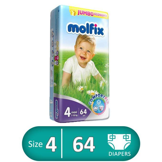 Molfix Diapers - Size 4 - 64 Pcs | Buy online | Jumia Egypt