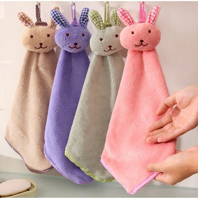 Baby Hand Towel Cartoon Animal Rabbit Plush Kitchen Soft Hanging Bath Wipe Towel –  مصر