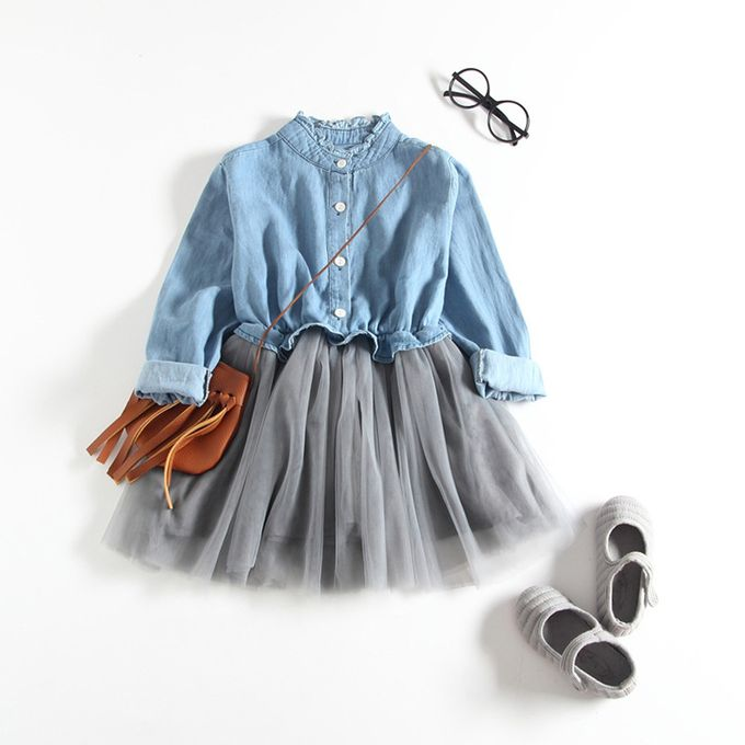 8b6d15d9d Toddler Baby Girls Denim Dress Long Sleeve Princess Tutu Dress Cowboy  Clothes